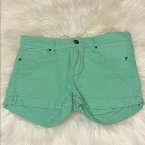 Seafoam Green High Waisted Jean Shorts